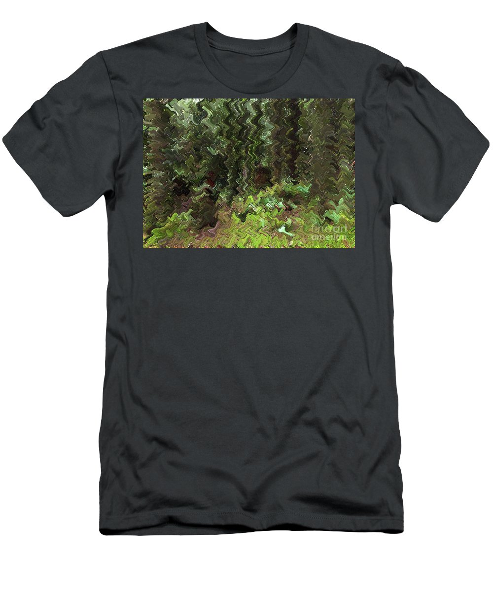 Rain Forest Men's T-Shirt (Athletic Fit) featuring the digital art Rain Forest Abstract by Sharon Talson
