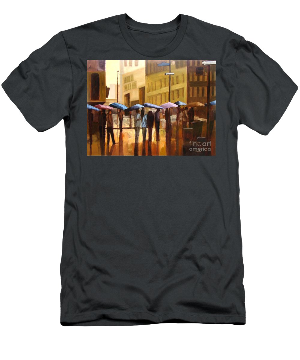 Cityscape T-Shirt featuring the painting Rain in Manhattan number seventeen by Tate Hamilton
