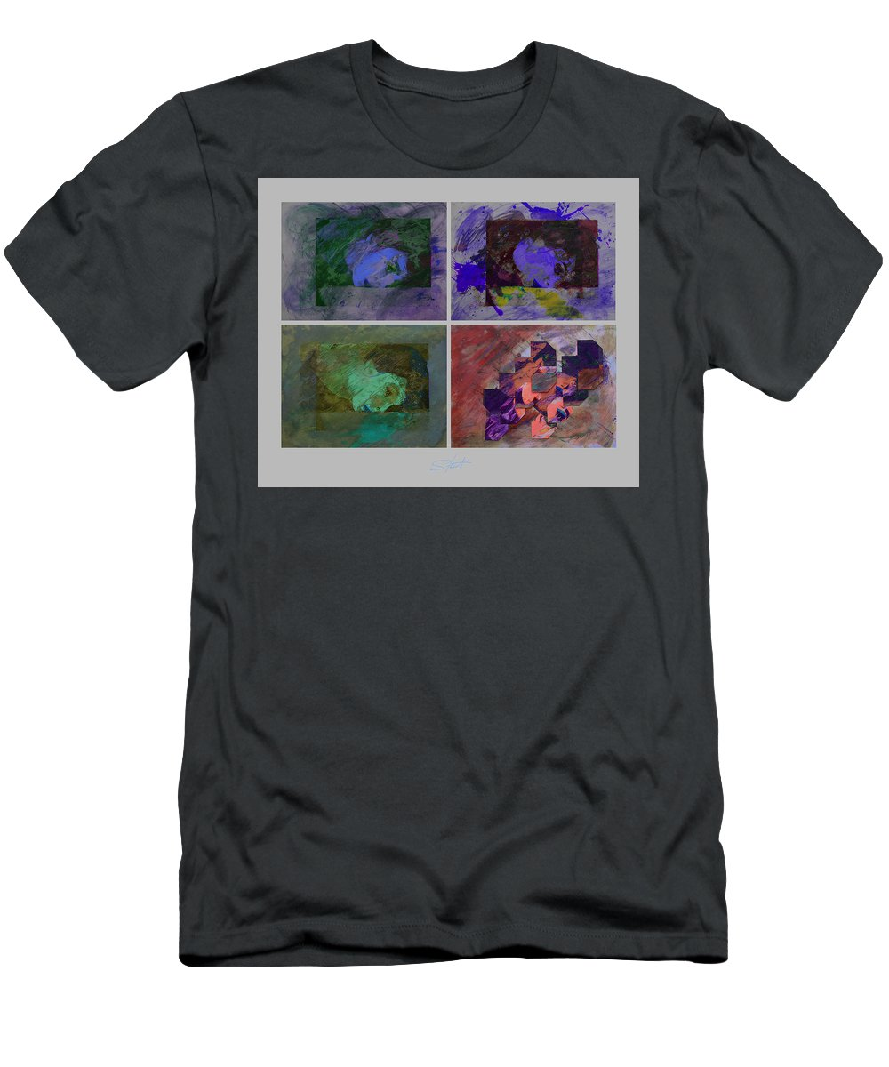 Psycho Men's T-Shirt (Athletic Fit) featuring the mixed media Rain Purple by Charles Stuart