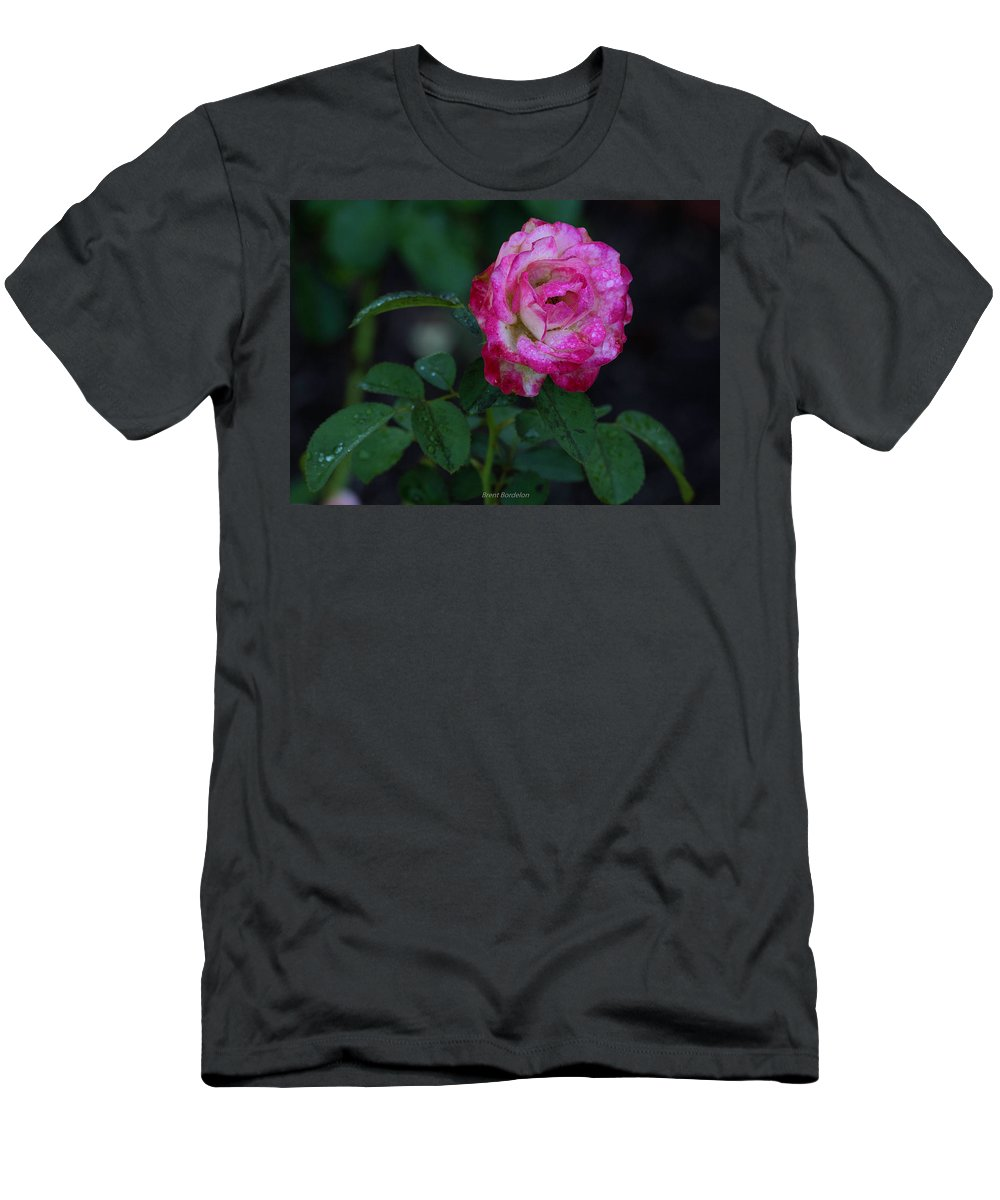 Rose Men's T-Shirt (Athletic Fit) featuring the photograph Rain Wet Rose by Brent Bordelon