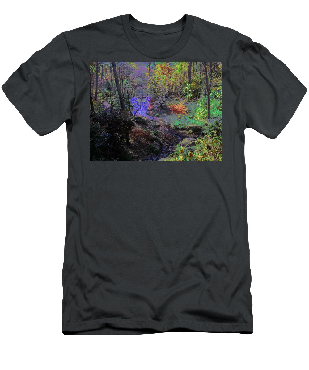 Woods Men's T-Shirt (Athletic Fit) featuring the photograph Rainbow Fairies Sweep Across The Landscape by Anne Cameron Cutri