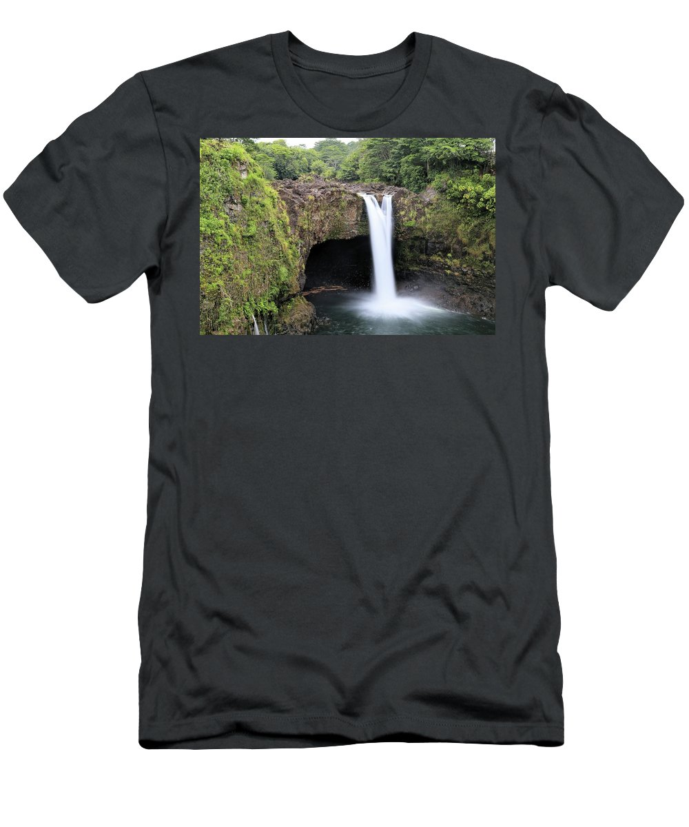 Photosbymch Men's T-Shirt (Athletic Fit) featuring the photograph Rainbow Falls by M C Hood
