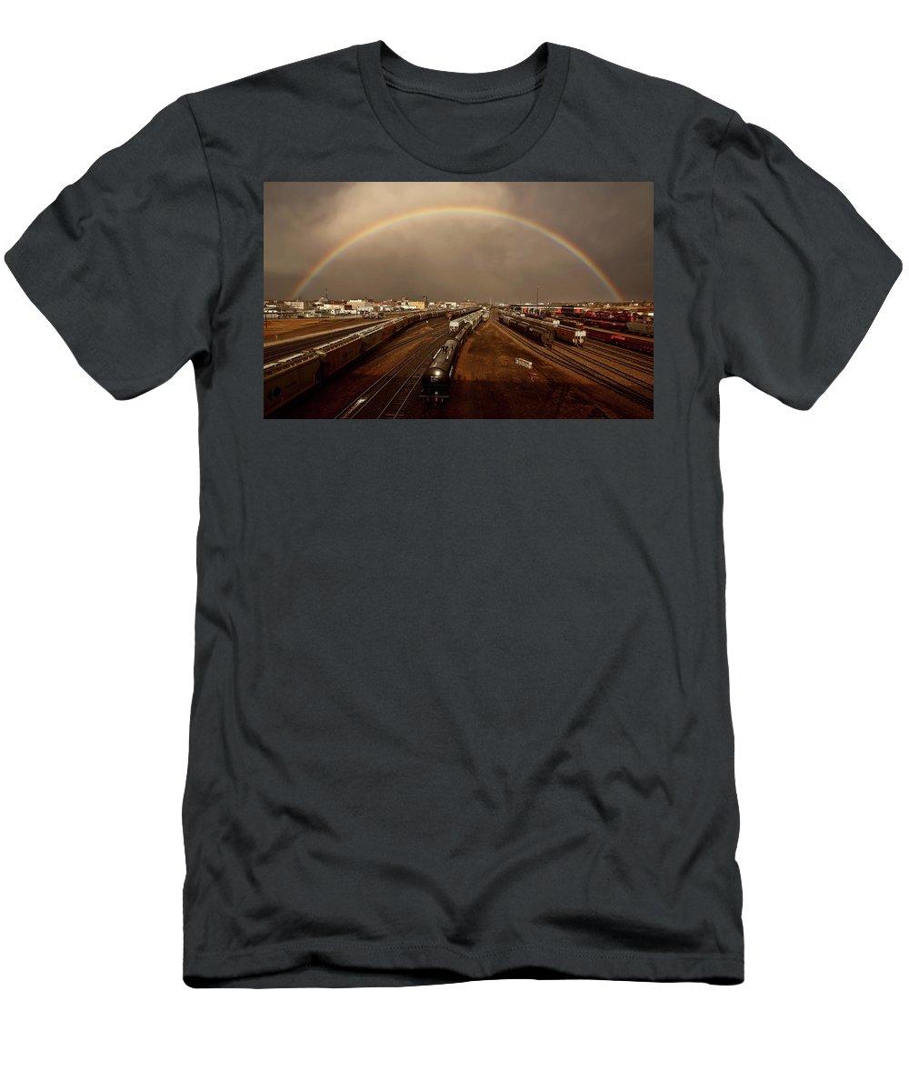 Rainbow Men's T-Shirt (Athletic Fit) featuring the digital art Rainbow Over Moose Jaw Saskatchewan by Mark Duffy