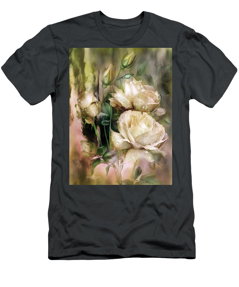 Rose Men's T-Shirt (Athletic Fit) featuring the mixed media Raindrops On Antique White Roses by Carol Cavalaris