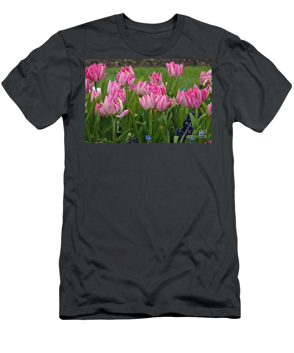 Pink Men's T-Shirt (Athletic Fit) featuring the photograph Raindrops On Tulips by Carole Lloyd