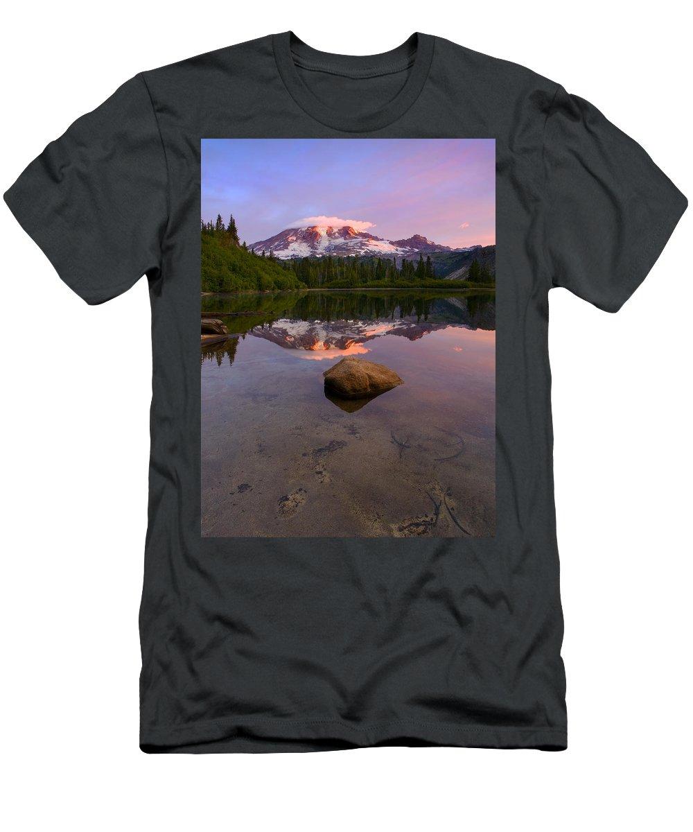 Mt. Rainier Men's T-Shirt (Athletic Fit) featuring the photograph Rainier Dawn Breaking by Mike Dawson