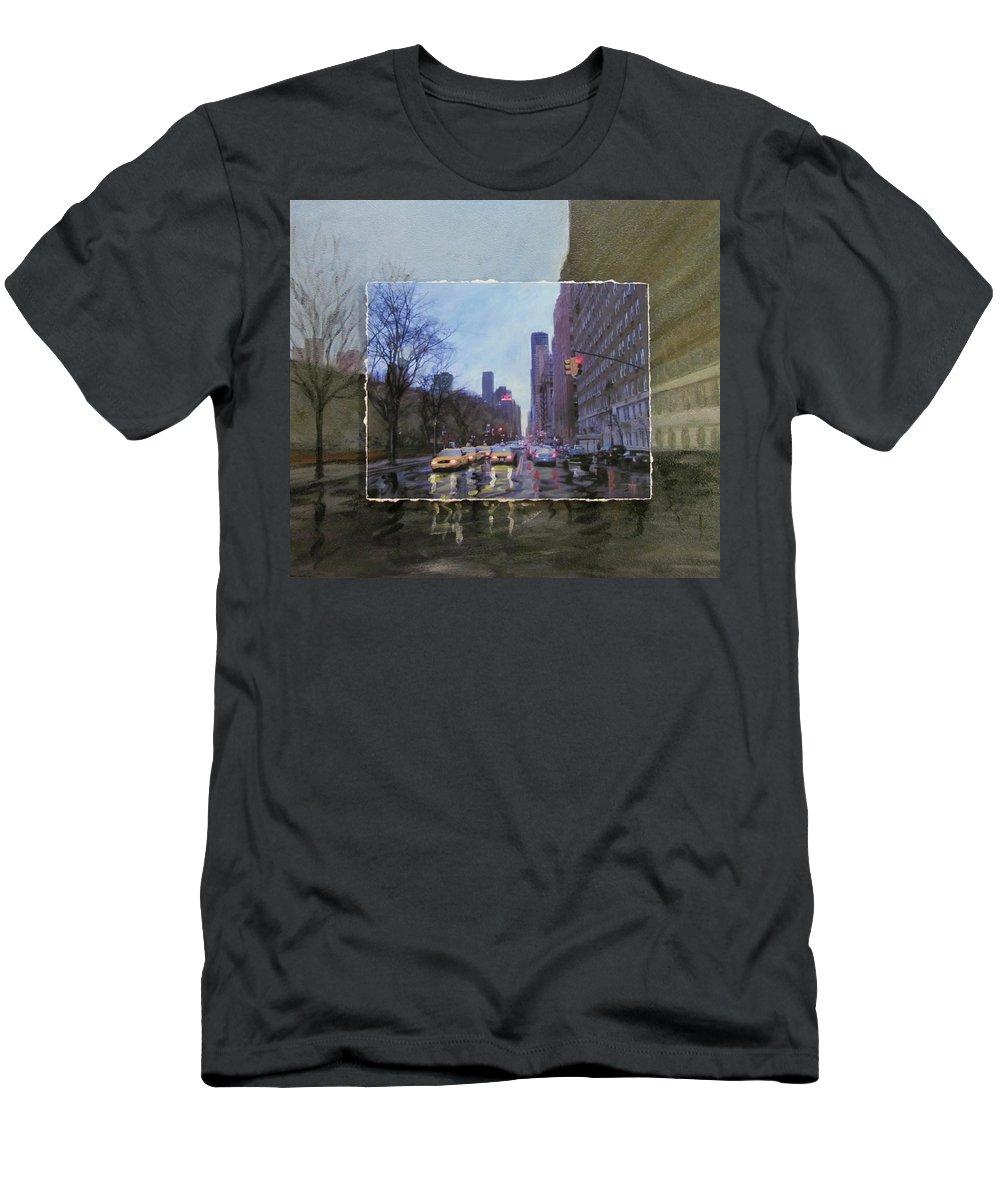 New York T-Shirt featuring the mixed media Rainy City Street layered by Anita Burgermeister