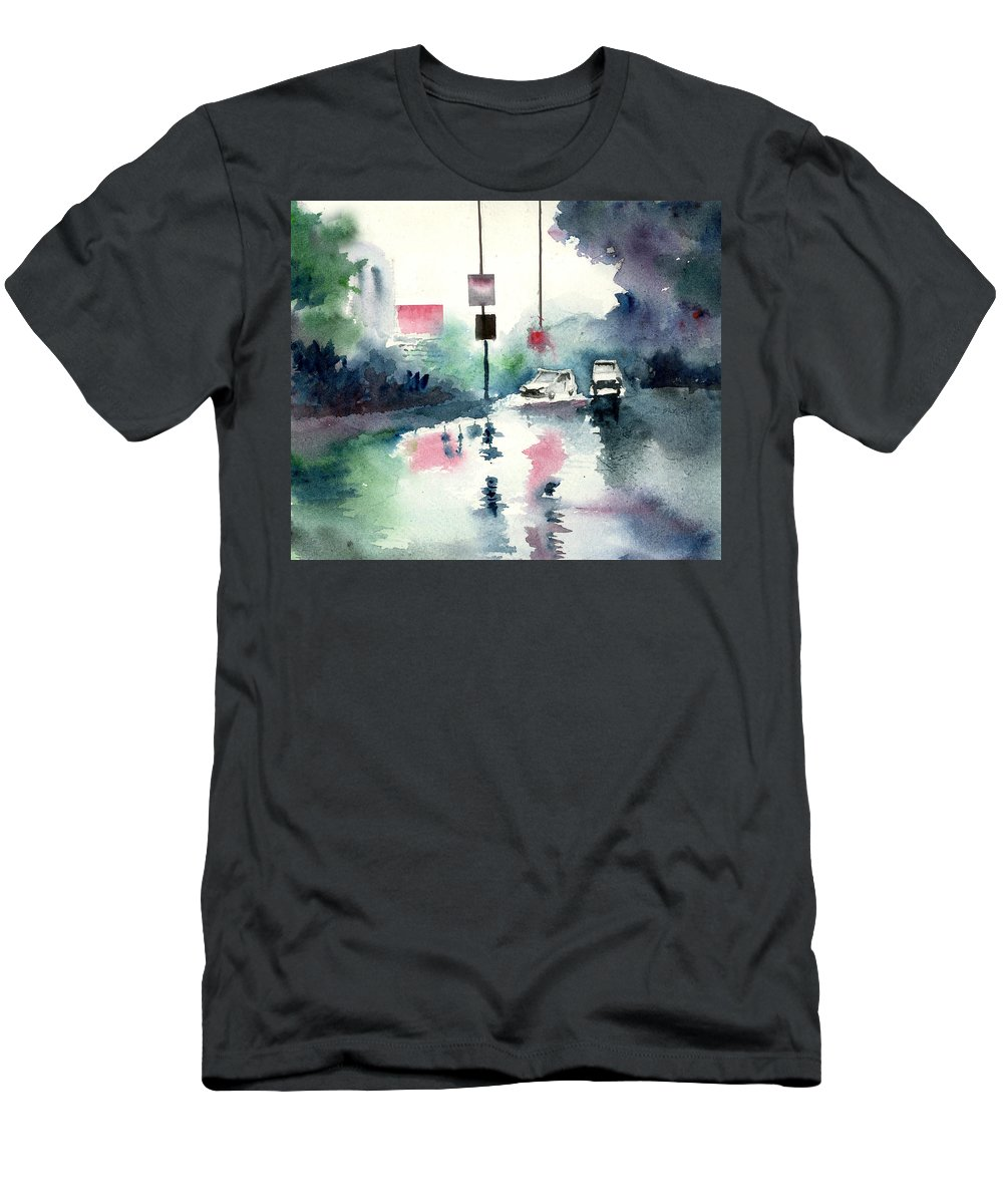 Nature Men's T-Shirt (Athletic Fit) featuring the painting Rainy Day by Anil Nene