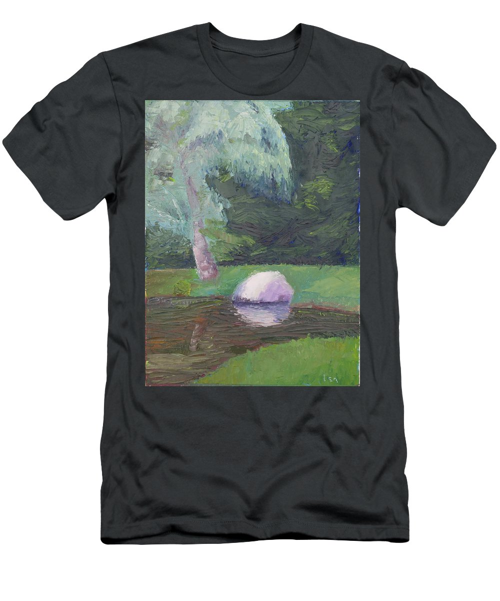 Landscape Painting Men's T-Shirt (Athletic Fit) featuring the painting Rainy Day by Lea Novak