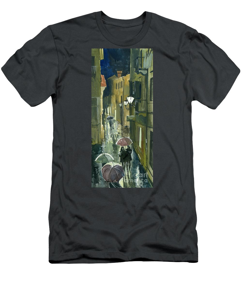 Montenegro Men's T-Shirt (Athletic Fit) featuring the painting Rainy Evening In Kotor by Sakurov Igor