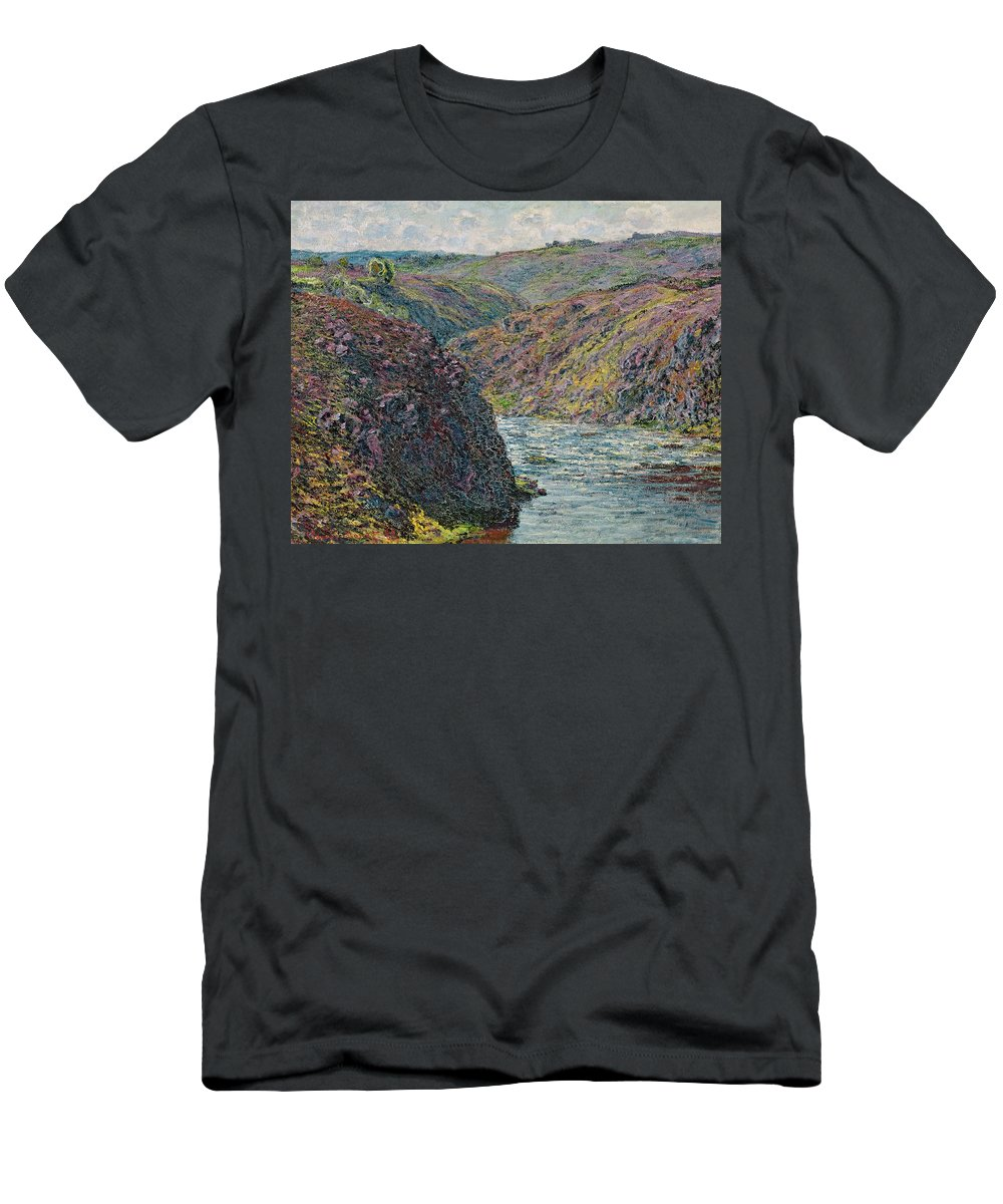 Sea Men's T-Shirt (Athletic Fit) featuring the painting Ravines Of The Creuse At The End Of The Day by Claude Monet