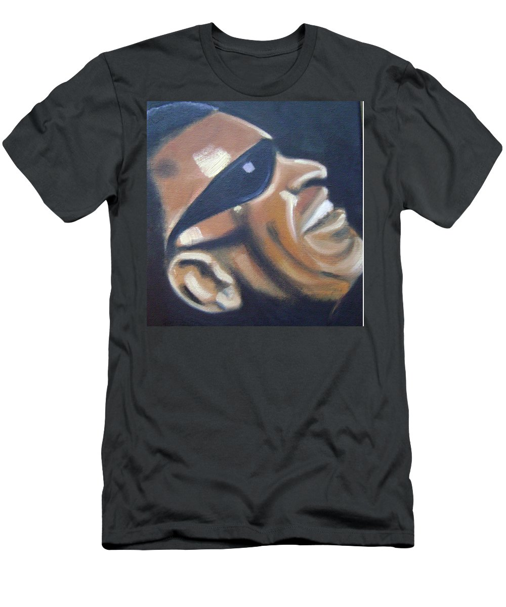 Ray Charles Men's T-Shirt (Athletic Fit) featuring the painting Ray Charles by Toni Berry