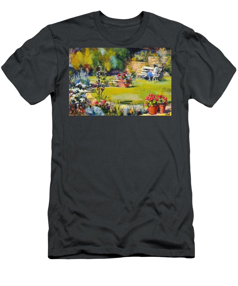 Garden Men's T-Shirt (Athletic Fit) featuring the painting Reading In The Garden by Sue Wales