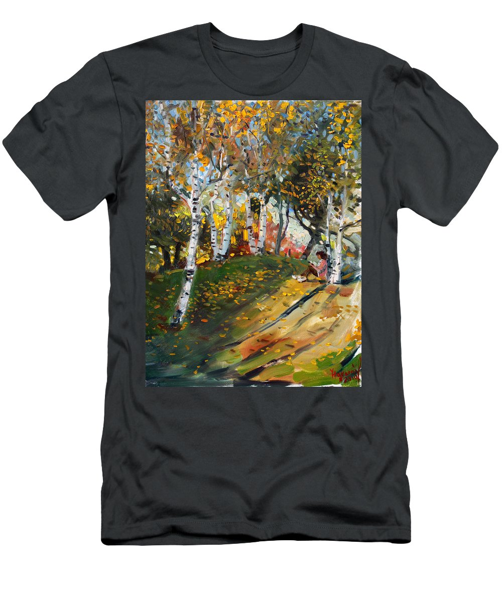 Reading Men's T-Shirt (Athletic Fit) featuring the painting Reading In The Park by Ylli Haruni