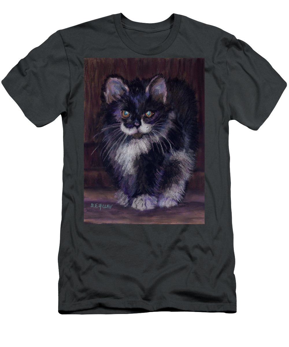 Kitten Men's T-Shirt (Athletic Fit) featuring the painting Ready For Trouble by Sharon E Allen
