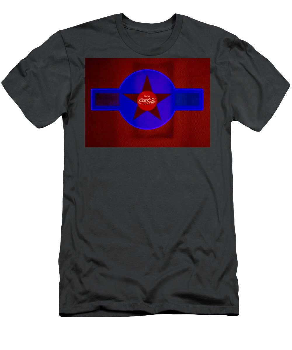 Label Men's T-Shirt (Athletic Fit) featuring the painting Red And Blue by Charles Stuart