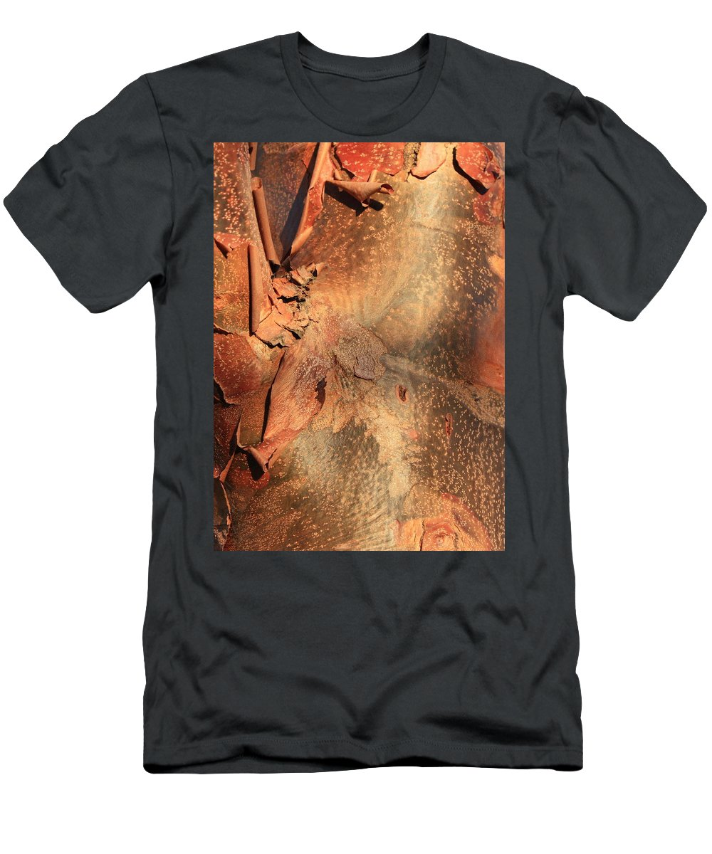 Nature Abstract Men's T-Shirt (Athletic Fit) featuring the photograph Red Bark Nature Abstract by Carol Groenen