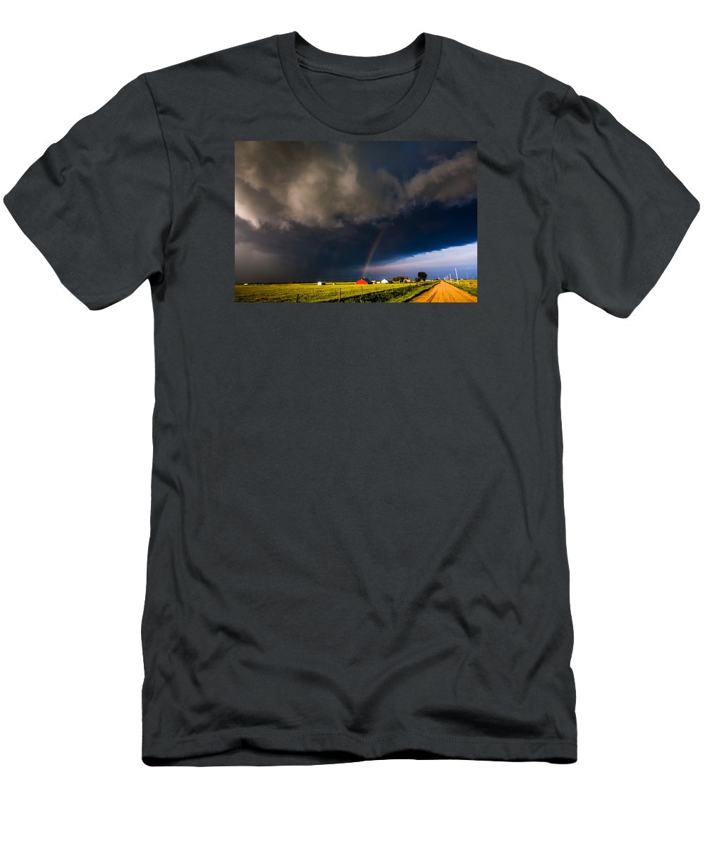 Rainbow Men's T-Shirt (Athletic Fit) featuring the photograph Red Barn And Rainbow by Bobby Eddins