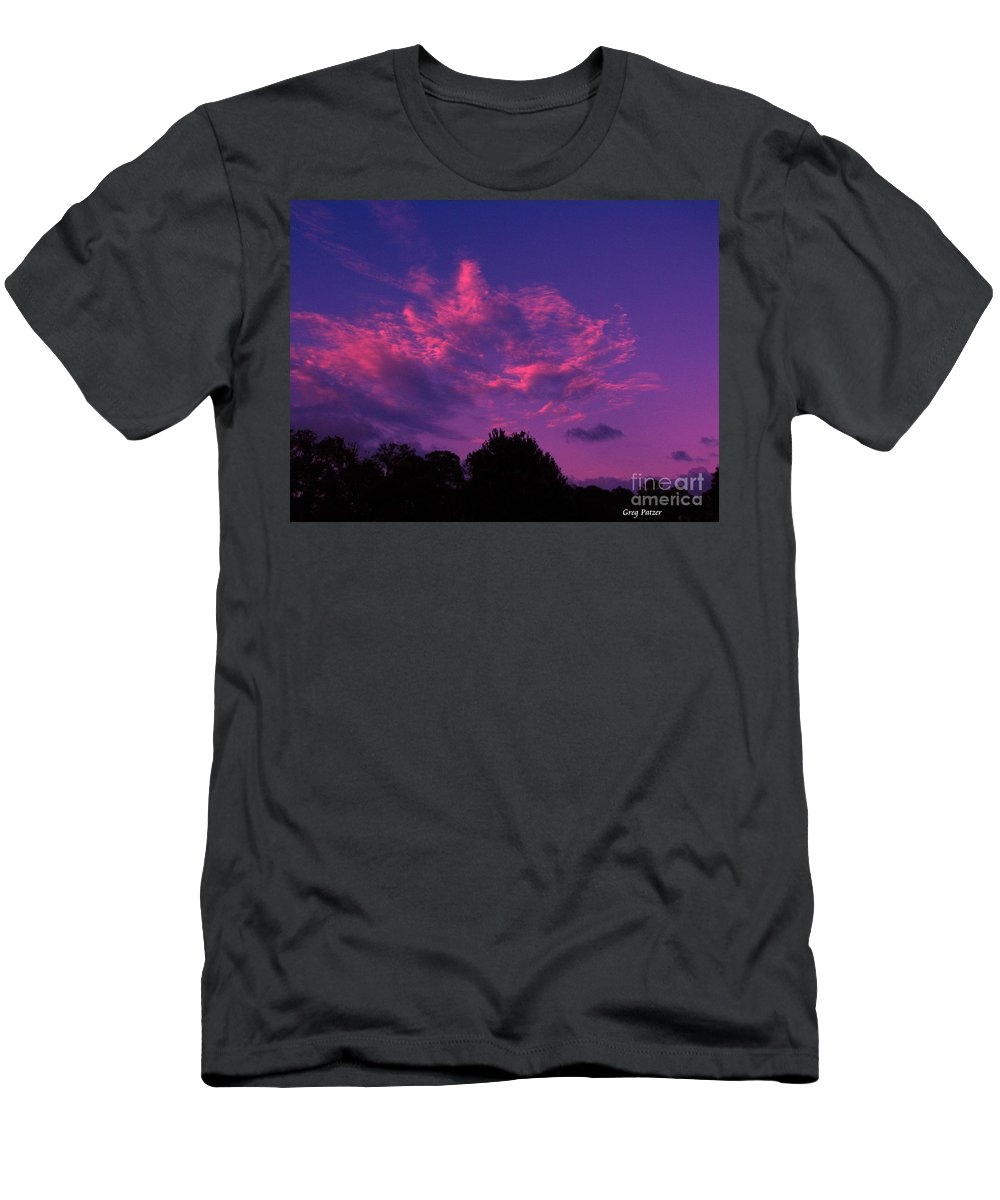 Night Scape Men's T-Shirt (Athletic Fit) featuring the photograph Red Blue Sky by Greg Patzer