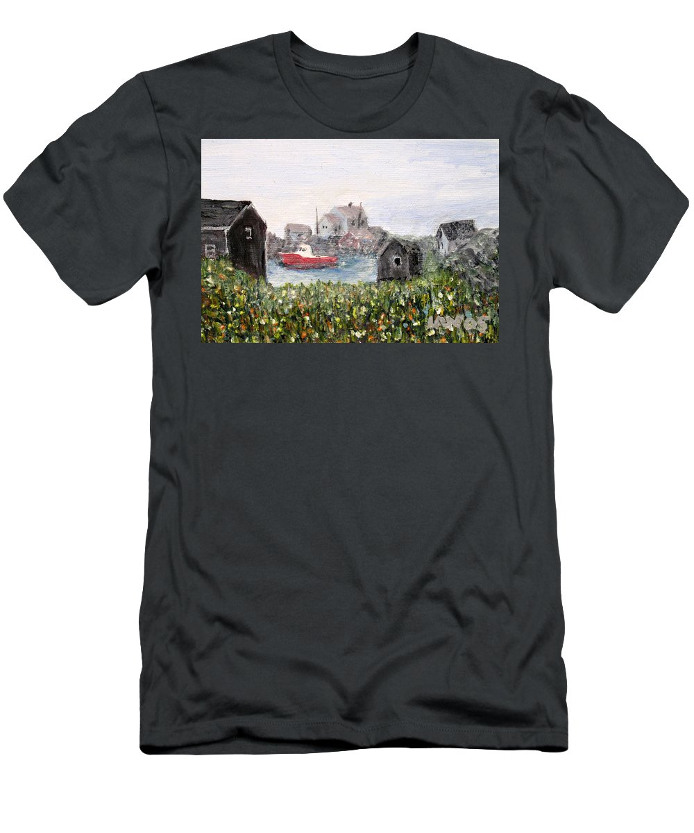 Red Boat Men's T-Shirt (Athletic Fit) featuring the painting Red Boat In Peggys Cove Nova Scotia by Ian MacDonald