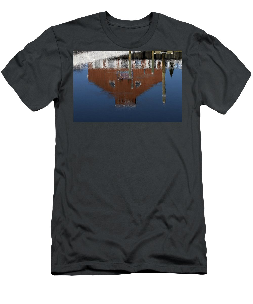 Reflection Men's T-Shirt (Athletic Fit) featuring the photograph Red Building Reflection by Karol Livote