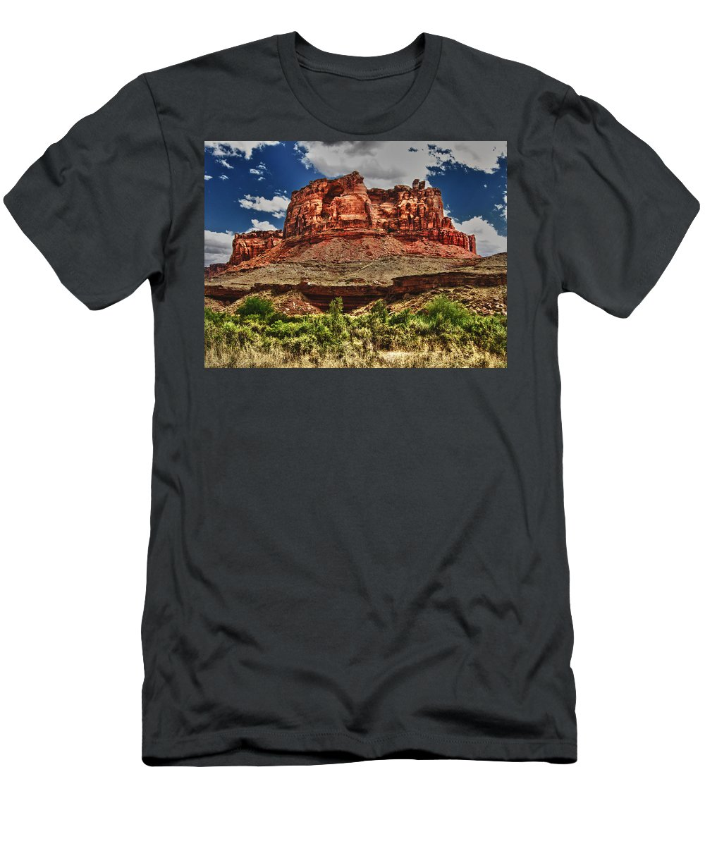 High Men's T-Shirt (Athletic Fit) featuring the digital art Red Butte by Gary Baird