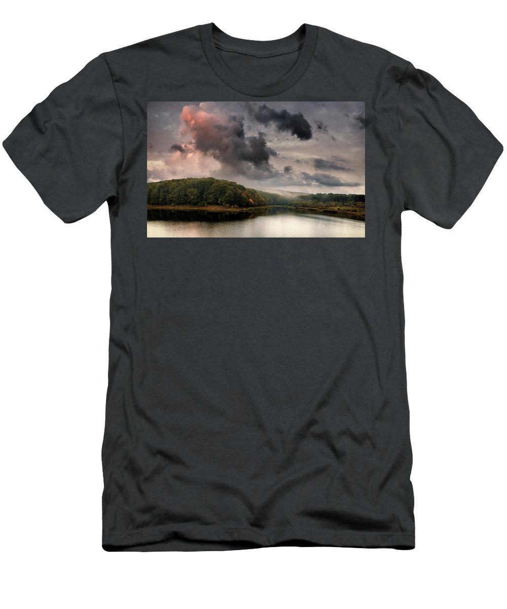 Autumn Men's T-Shirt (Athletic Fit) featuring the photograph Red Cloud by Socaciu Marcel