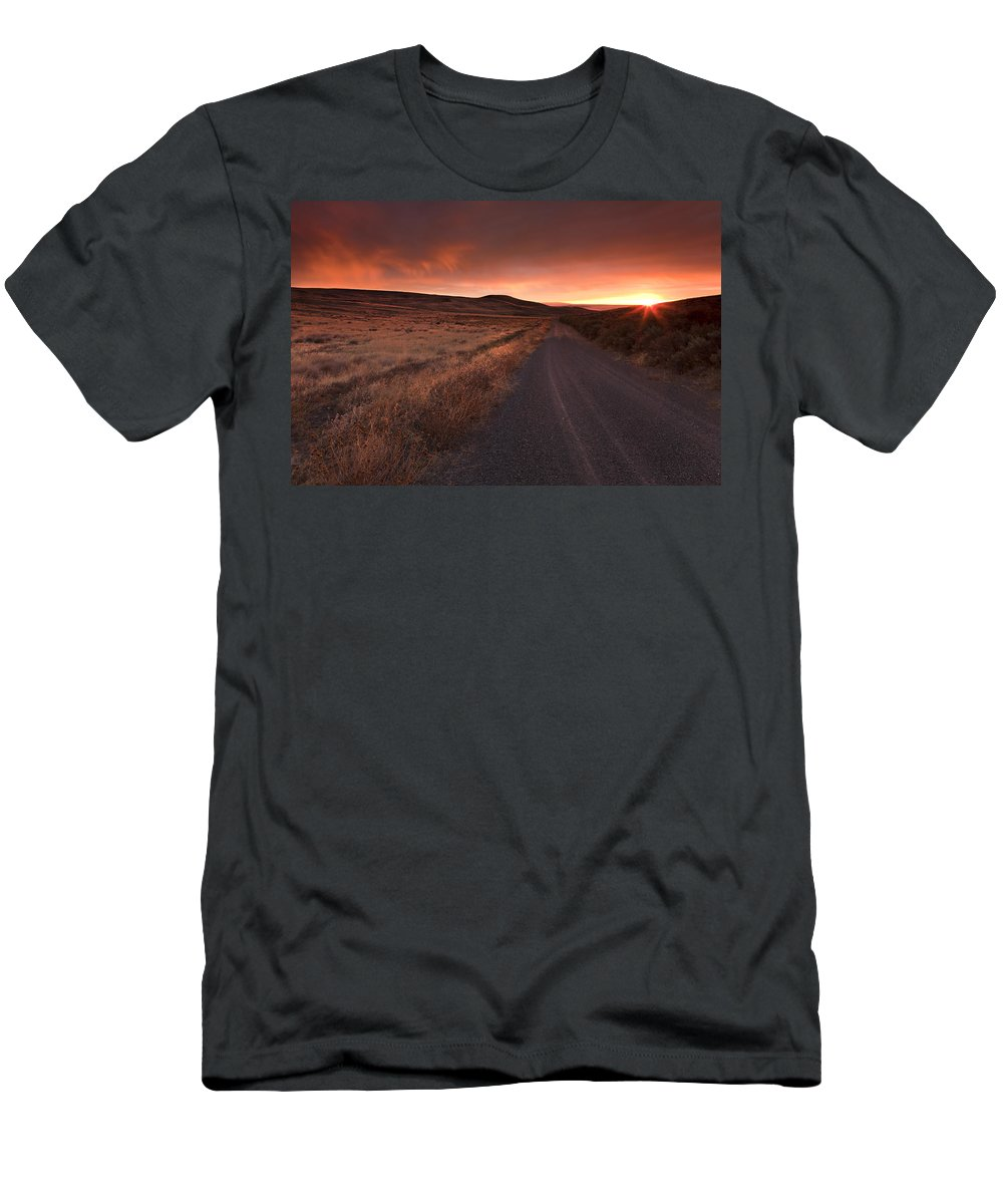 Country Road Men's T-Shirt (Athletic Fit) featuring the photograph Red Dawn by Mike Dawson
