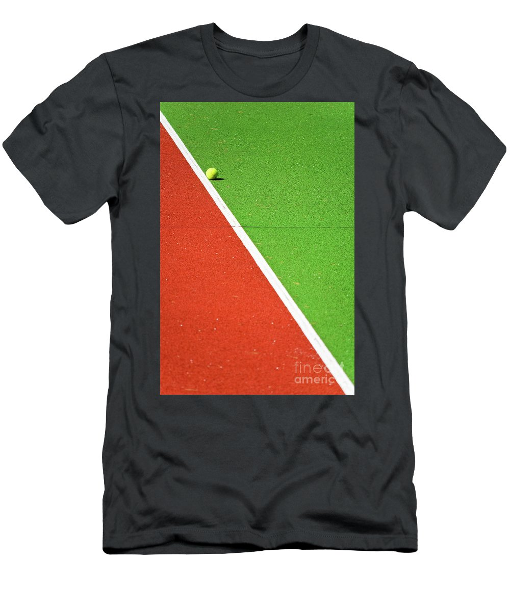 Tennis Men's T-Shirt (Athletic Fit) featuring the photograph Red Green White Line And Tennis Ball by Silvia Ganora