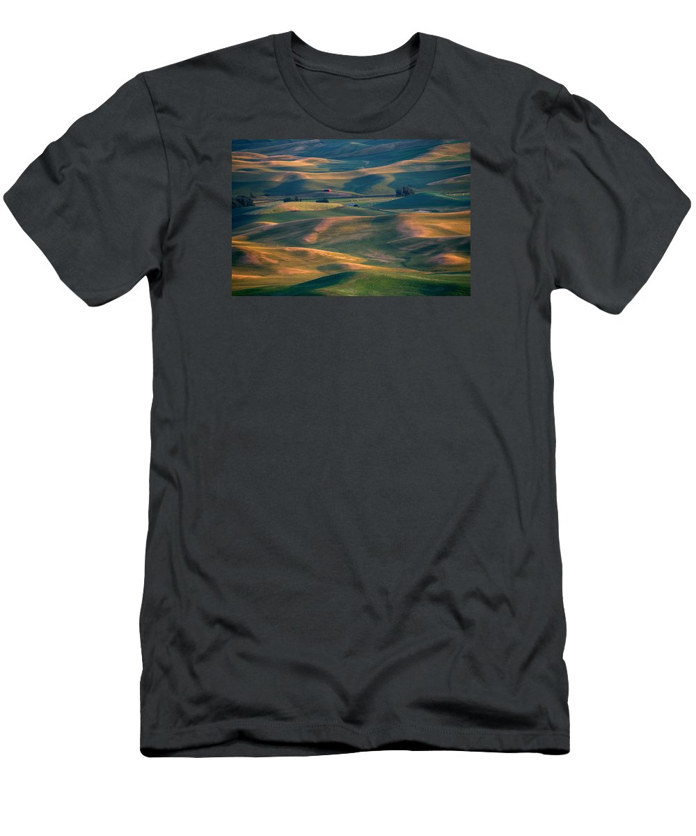 Barn Men's T-Shirt (Athletic Fit) featuring the photograph Red In A Sea Of Green by Mike Dawson