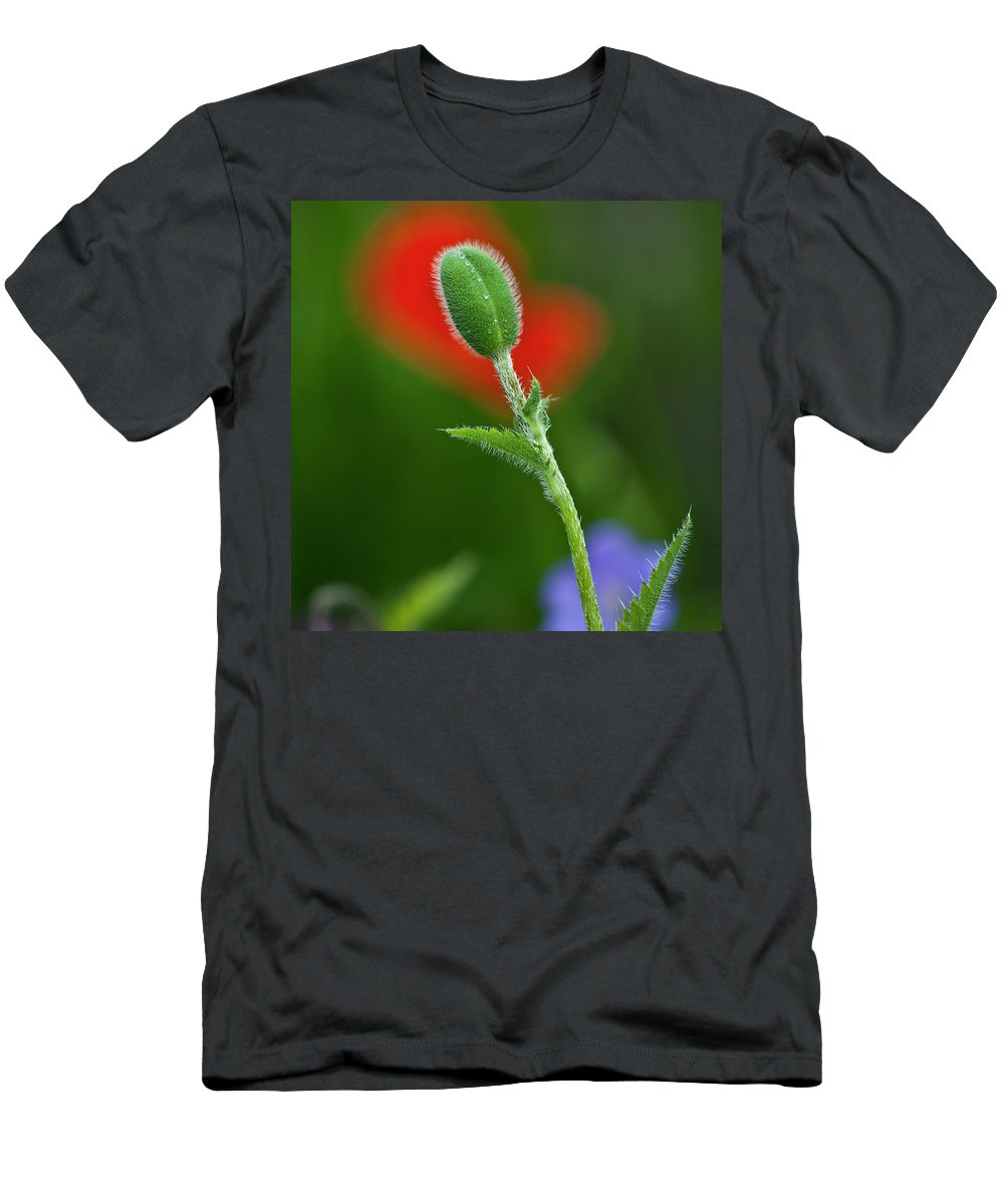 Poppy Men's T-Shirt (Athletic Fit) featuring the photograph Red Poppy Bud by Heiko Koehrer-Wagner