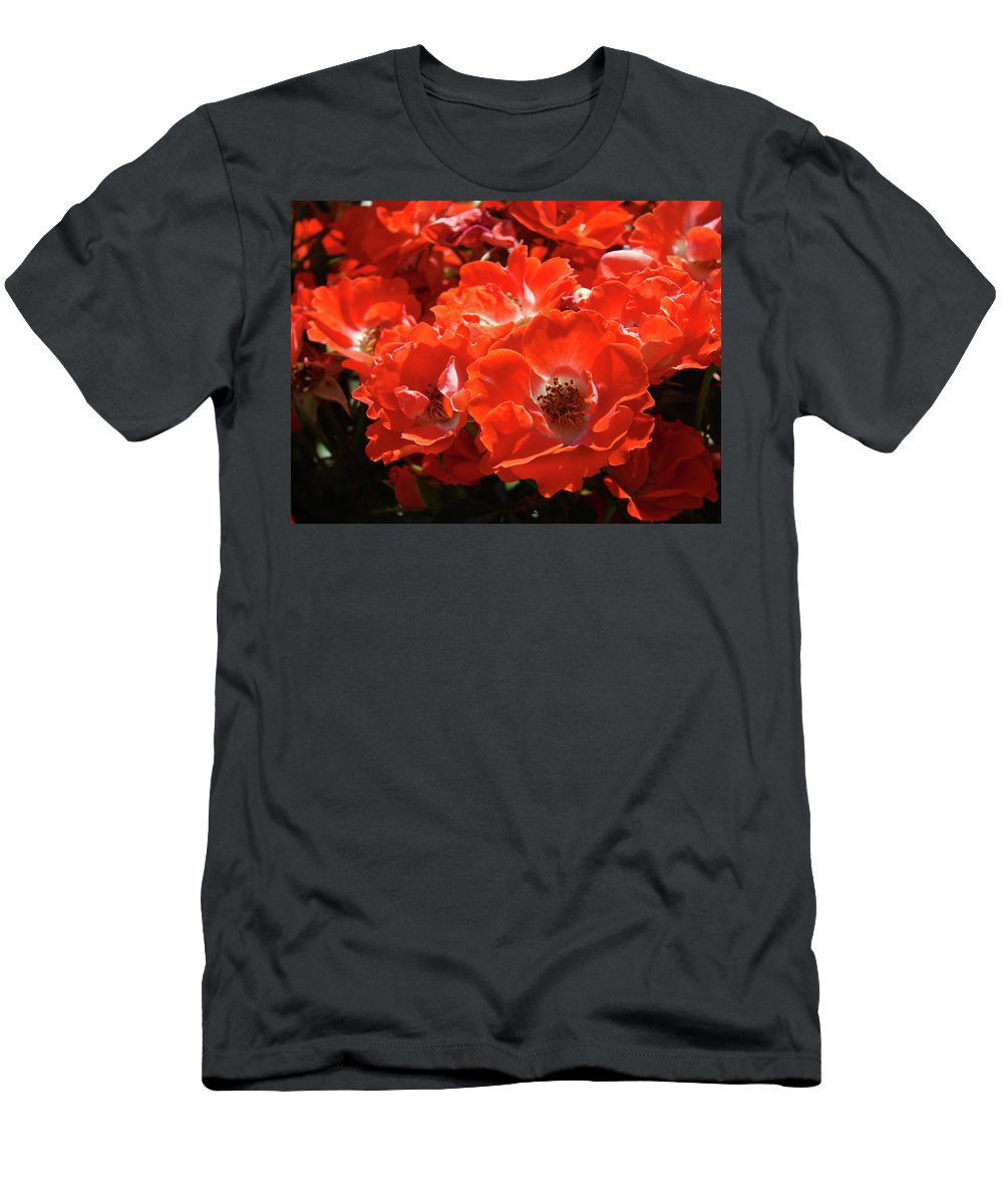 Rose Men's T-Shirt (Athletic Fit) featuring the photograph Red Roses Botanical Landscape 1 Red Rose Giclee Prints Baslee Troutman by Baslee Troutman