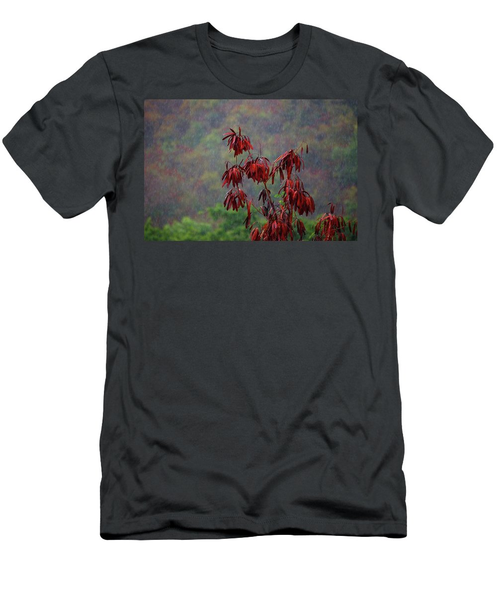 Alabama Photographer Men's T-Shirt (Athletic Fit) featuring the digital art Red Tree In The Rain by Michael Thomas