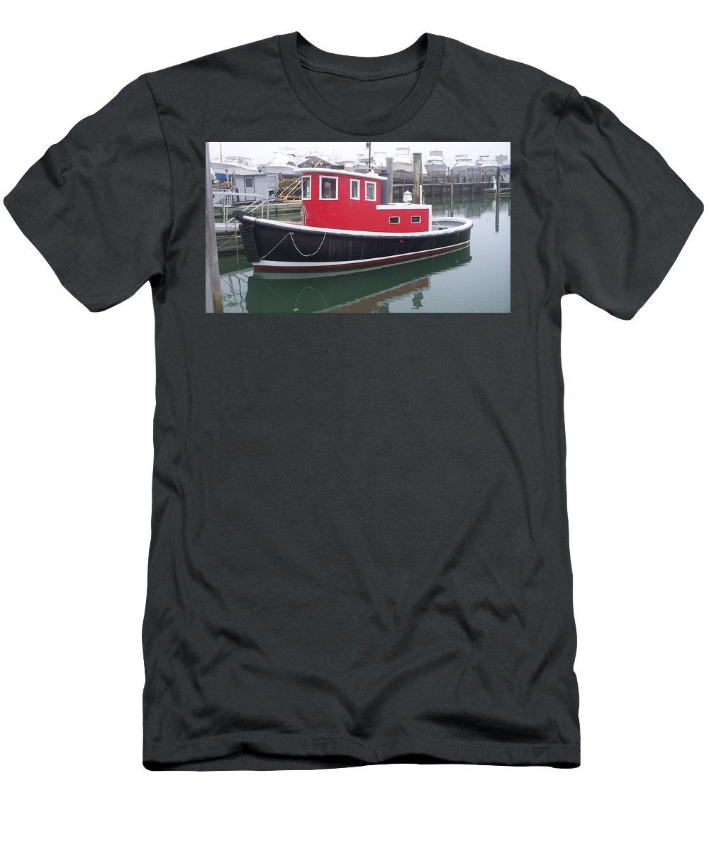 Tugboat Men's T-Shirt (Athletic Fit) featuring the painting Red Tug by Eric Schiabor