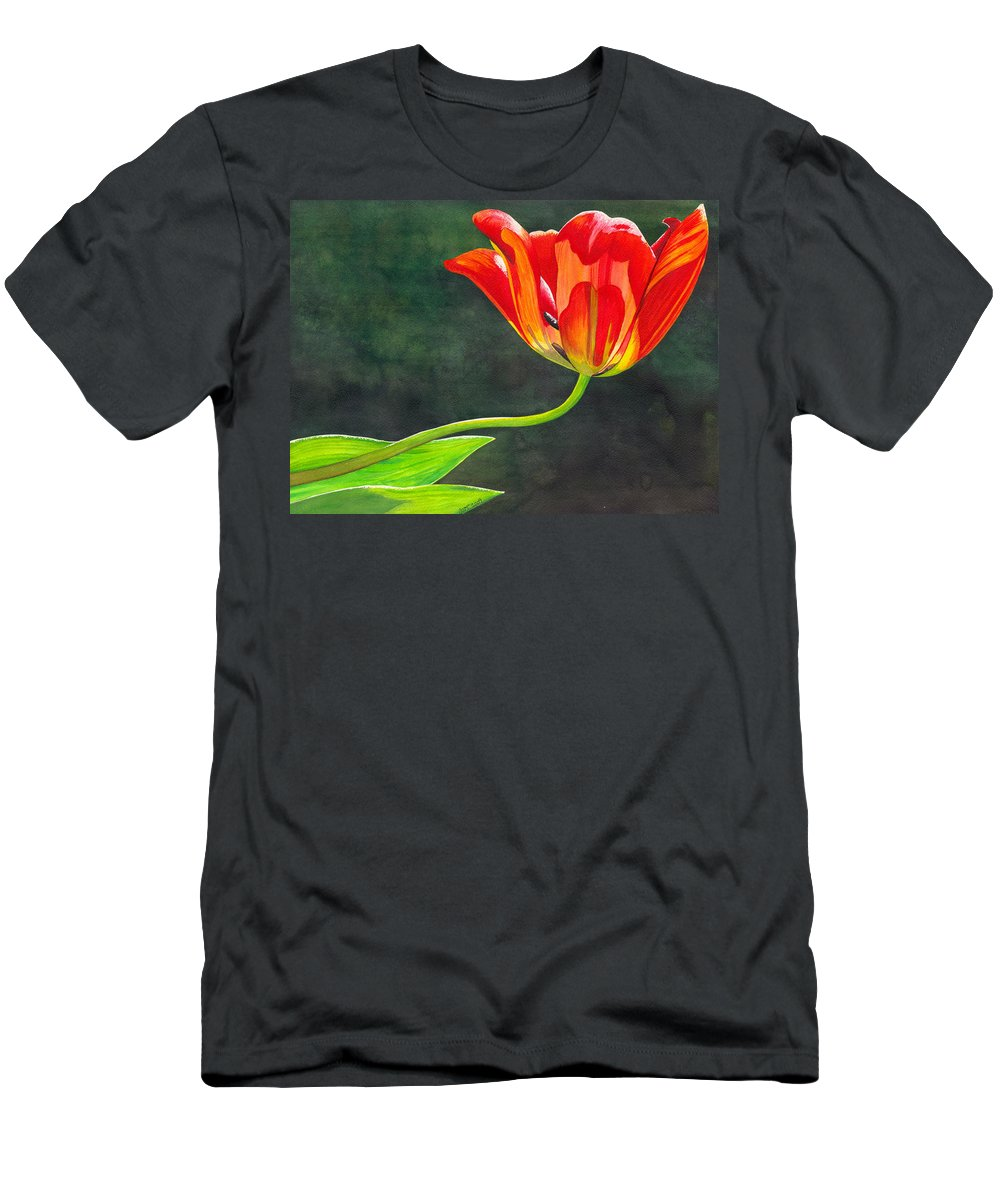 Tulip Men's T-Shirt (Athletic Fit) featuring the painting Red Tulip by Catherine G McElroy