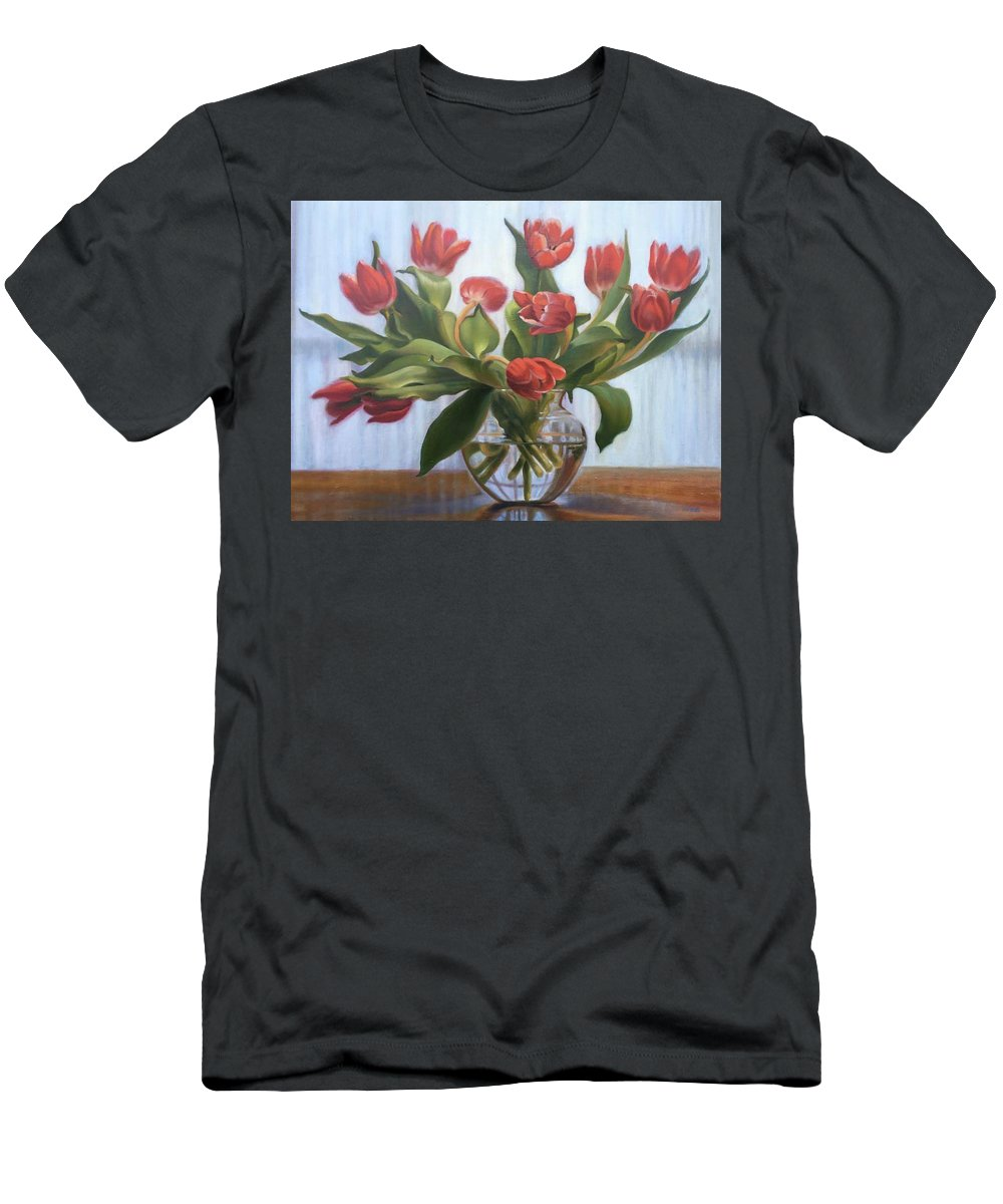 Red Tulips Men's T-Shirt (Athletic Fit) featuring the painting Red Tulips, Glass Vase by Rosanne Wolfe
