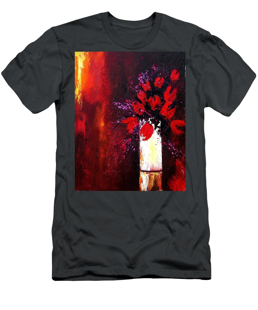 Flowers Men's T-Shirt (Athletic Fit) featuring the painting Red Tulips by Pol Ledent