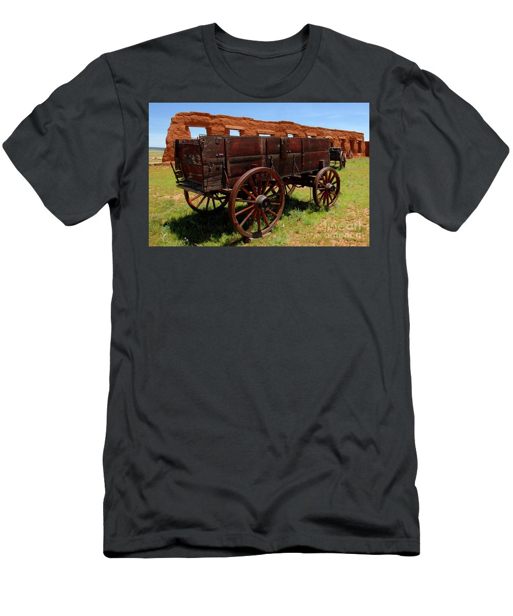 Fine Art Photography Men's T-Shirt (Athletic Fit) featuring the photograph Red Wagon by David Lee Thompson