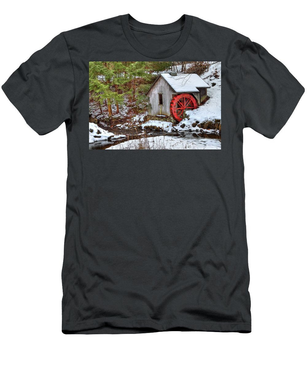 Cold Men's T-Shirt (Athletic Fit) featuring the photograph Red Wheel by Evelina Kremsdorf