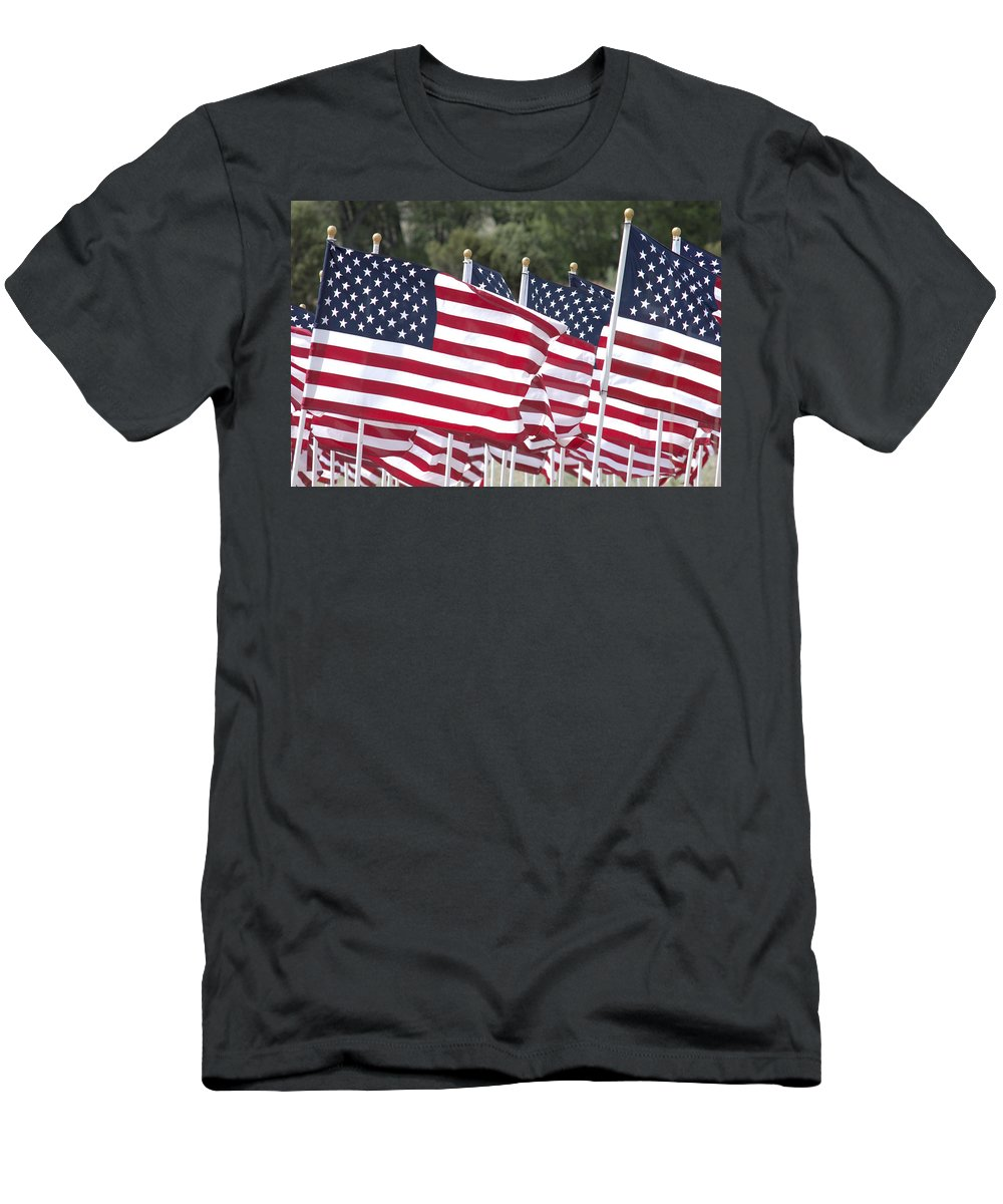 Flag Men's T-Shirt (Athletic Fit) featuring the photograph Red White And Blue by Jerry McElroy
