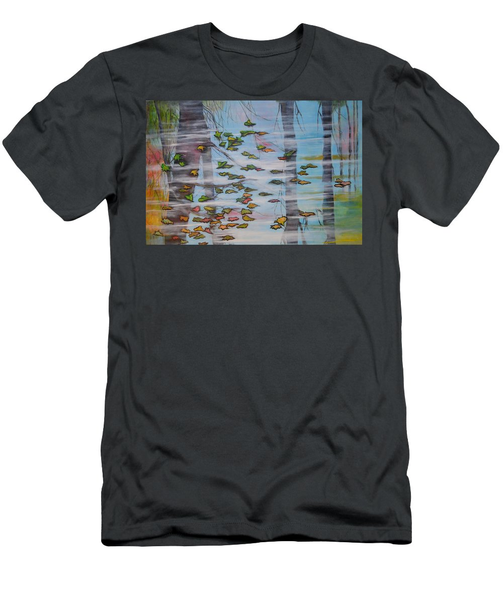 Water As A Mirror Men's T-Shirt (Athletic Fit) featuring the painting Reflection by Jorge Parellada
