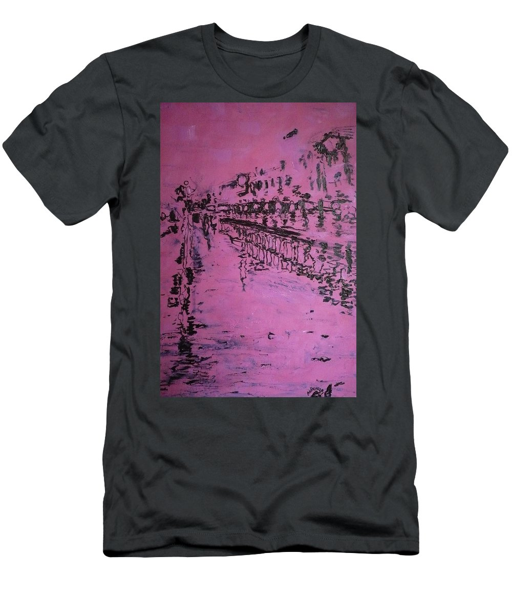 Reflection Men's T-Shirt (Athletic Fit) featuring the painting Reflection On Rose by Ericka Herazo