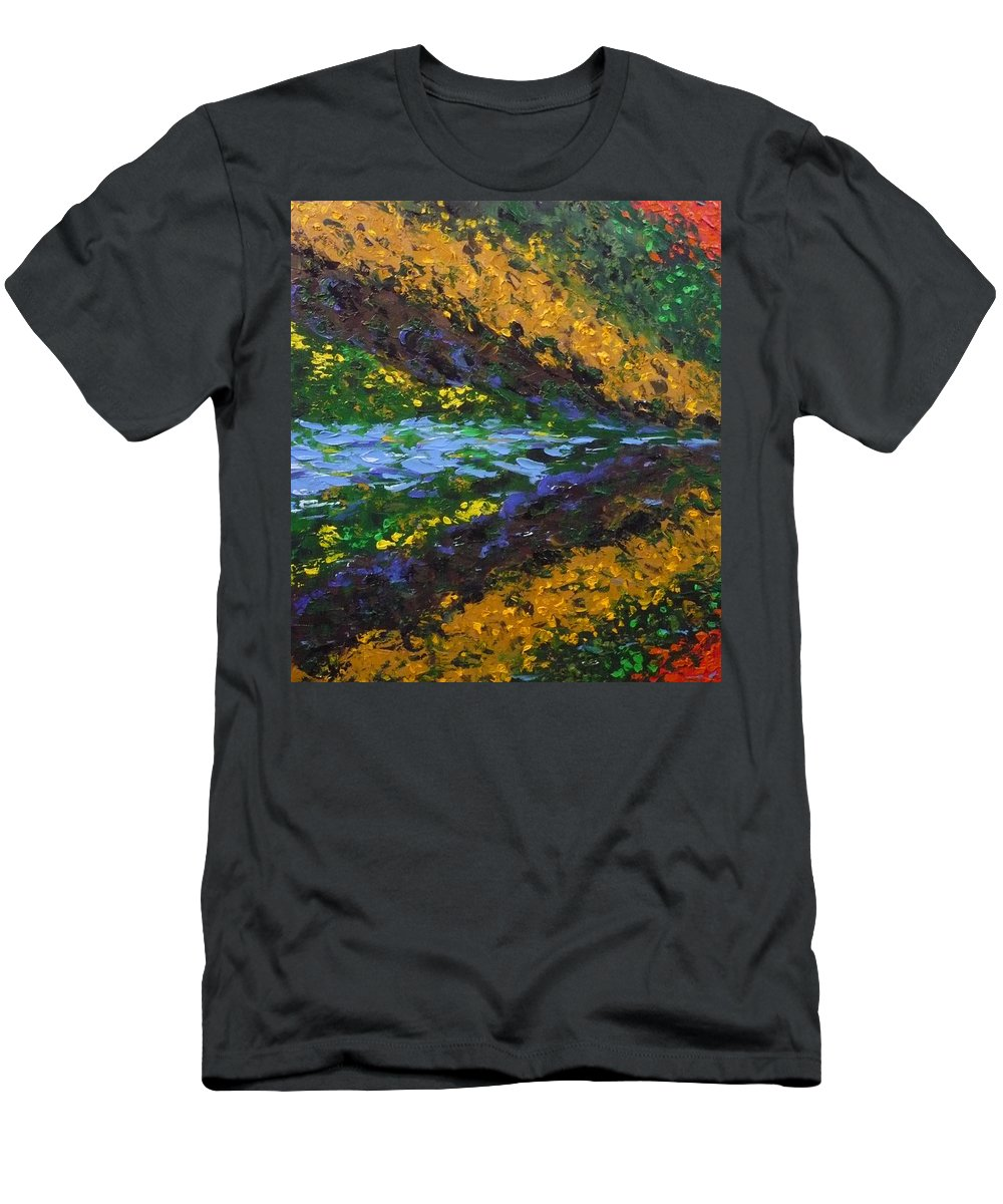 Landscape Men's T-Shirt (Athletic Fit) featuring the painting Reflection One by Ericka Herazo