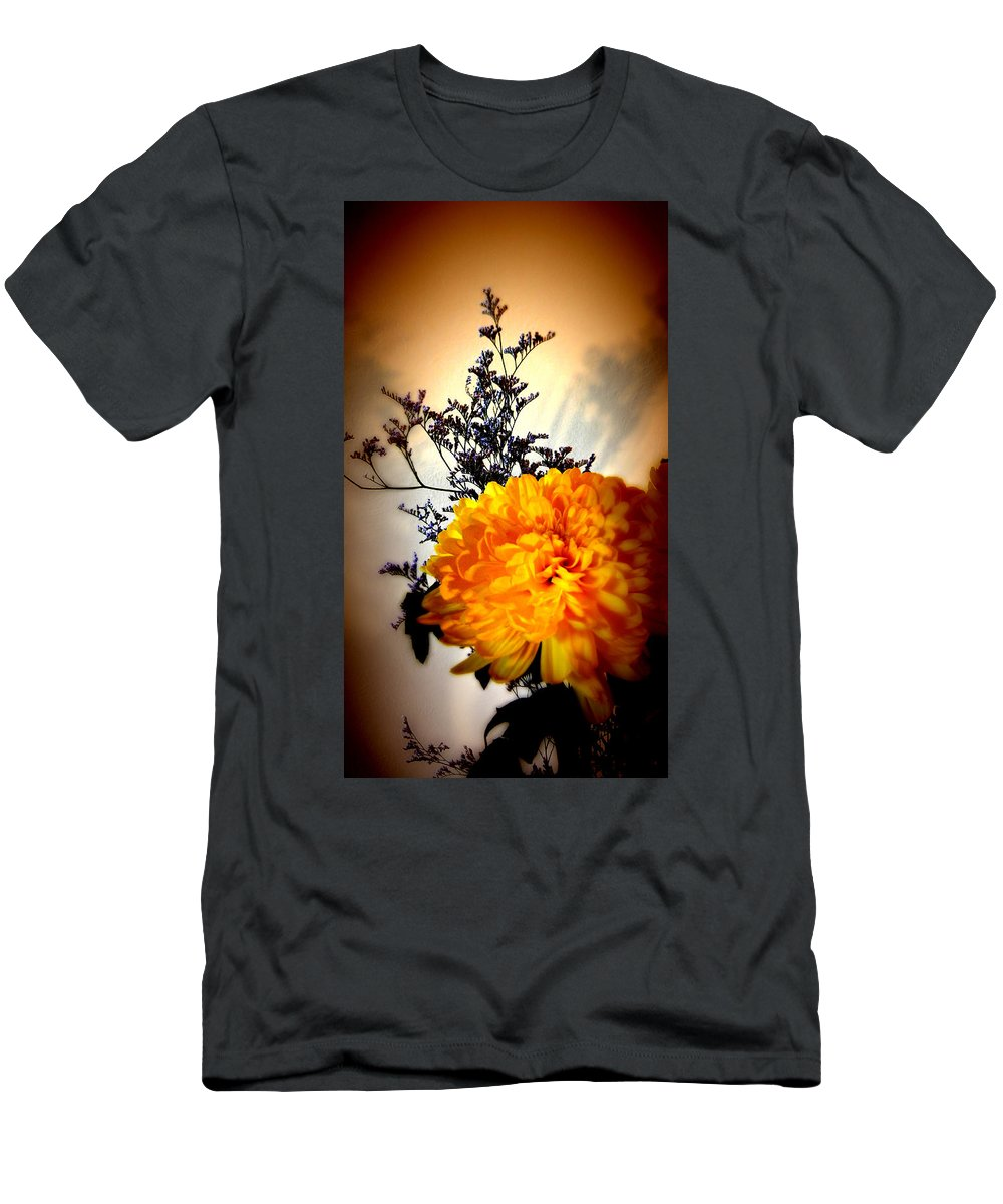 Flower Men's T-Shirt (Athletic Fit) featuring the photograph Reflections In Orange by Bobbie Barth
