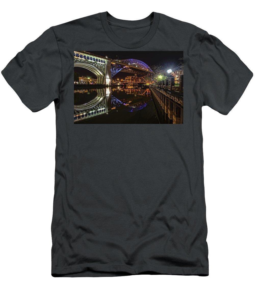 Veterans Memorial Bridge Men's T-Shirt (Athletic Fit) featuring the photograph Reflections Of Veterans Memorial Bridge by Brent Durken