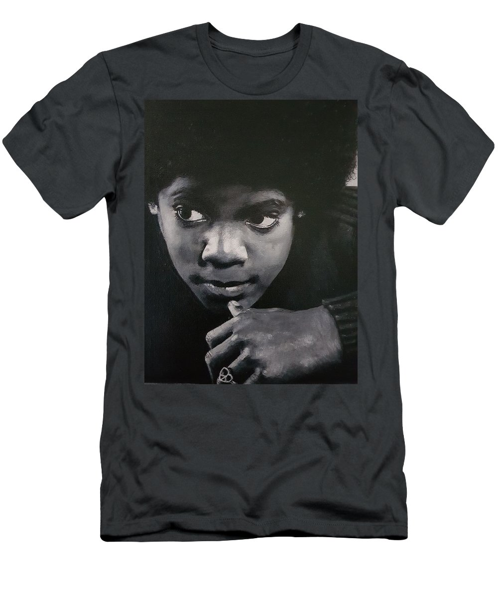 Michael Jackson Men's T-Shirt (Athletic Fit) featuring the painting Reflective Mood by Cassy Allsworth