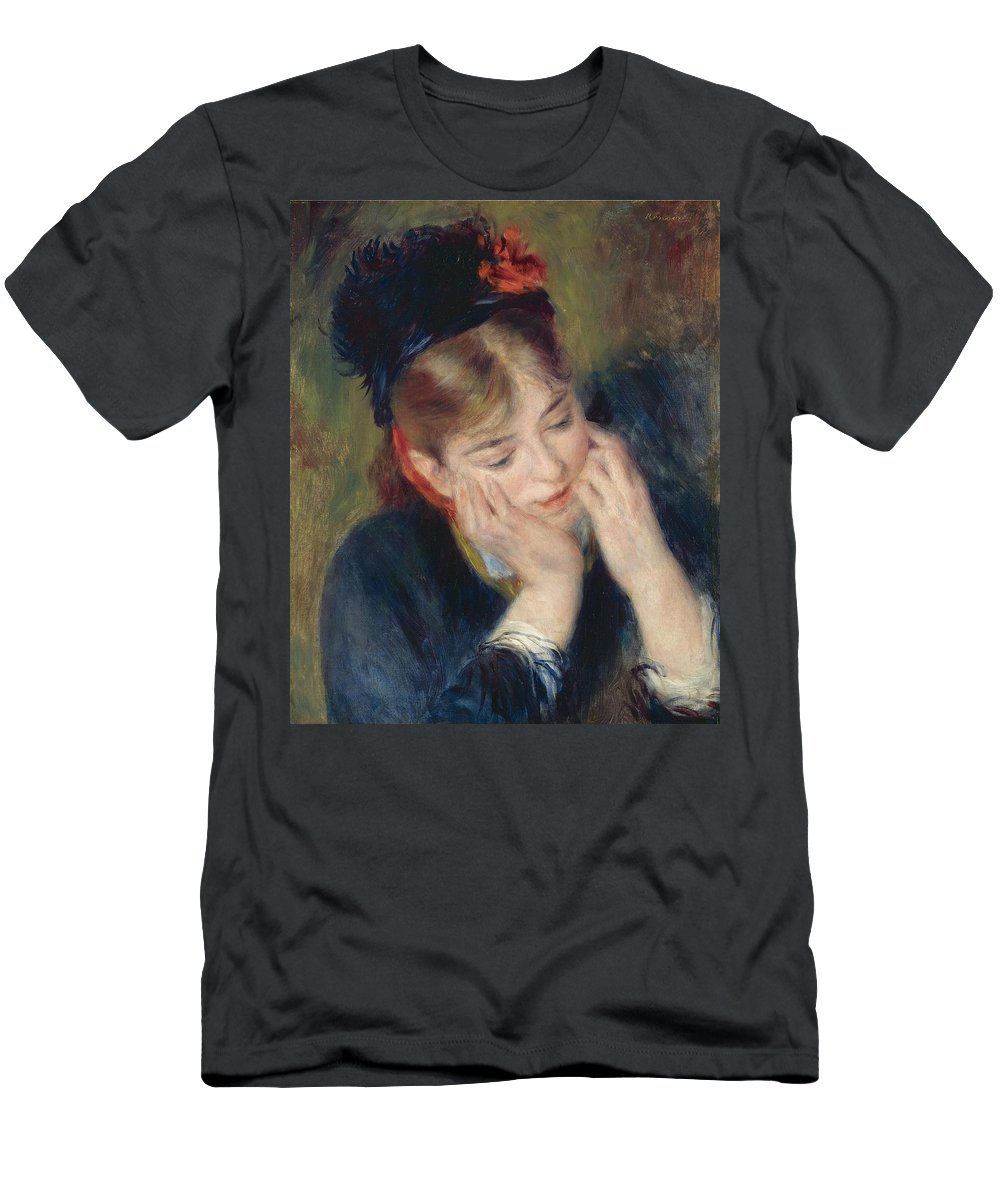 Pierre-auguste Renoir (french Men's T-Shirt (Athletic Fit) featuring the painting Reflexion by MotionAge Designs