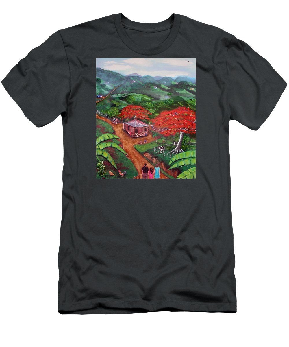 Flamboyan Men's T-Shirt (Athletic Fit) featuring the painting Regreso Al Campo by Luis F Rodriguez