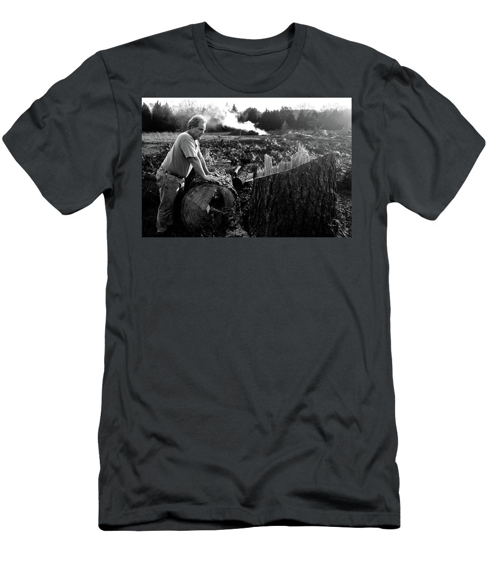 Trees Men's T-Shirt (Athletic Fit) featuring the photograph Regret by Ginnie Lerch