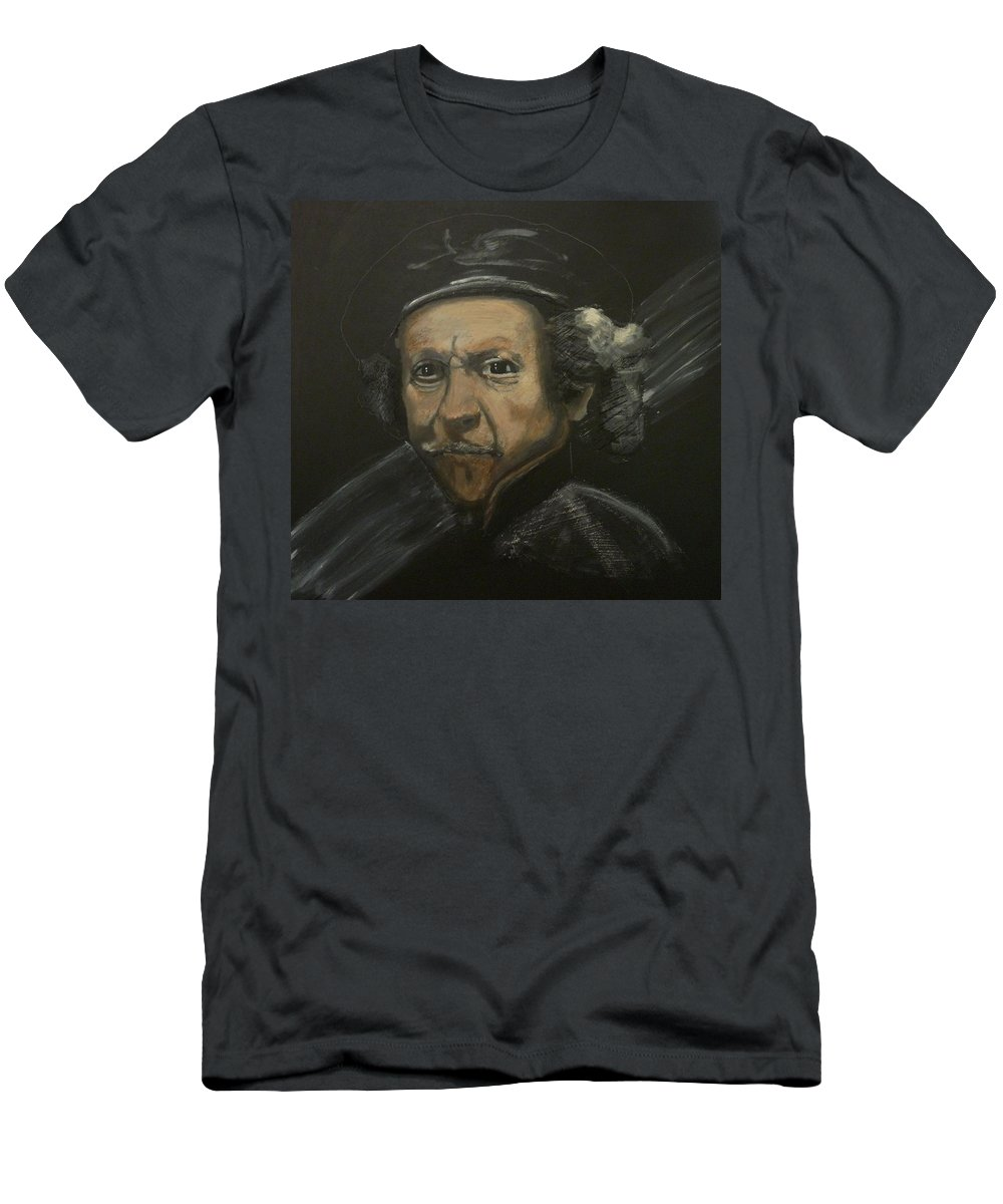 Rembrandt Men's T-Shirt (Athletic Fit) featuring the painting Rembrandt And Colour by Richard Le Page